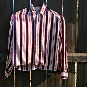 Vintage silky top striped blue and red top